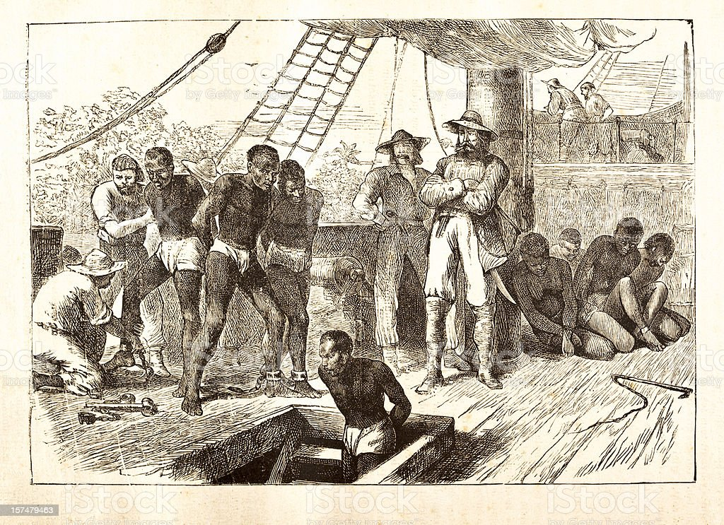 Black slaves loaded on ship 1881 vector art illustration