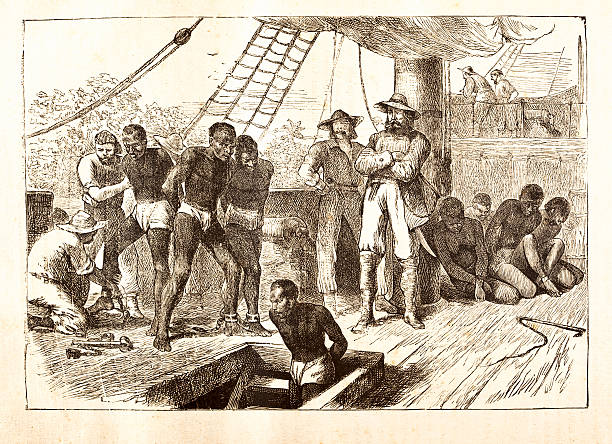 stockillustraties, clipart, cartoons en iconen met black slaves loaded on ship 1881 - vroegmoderne tijd