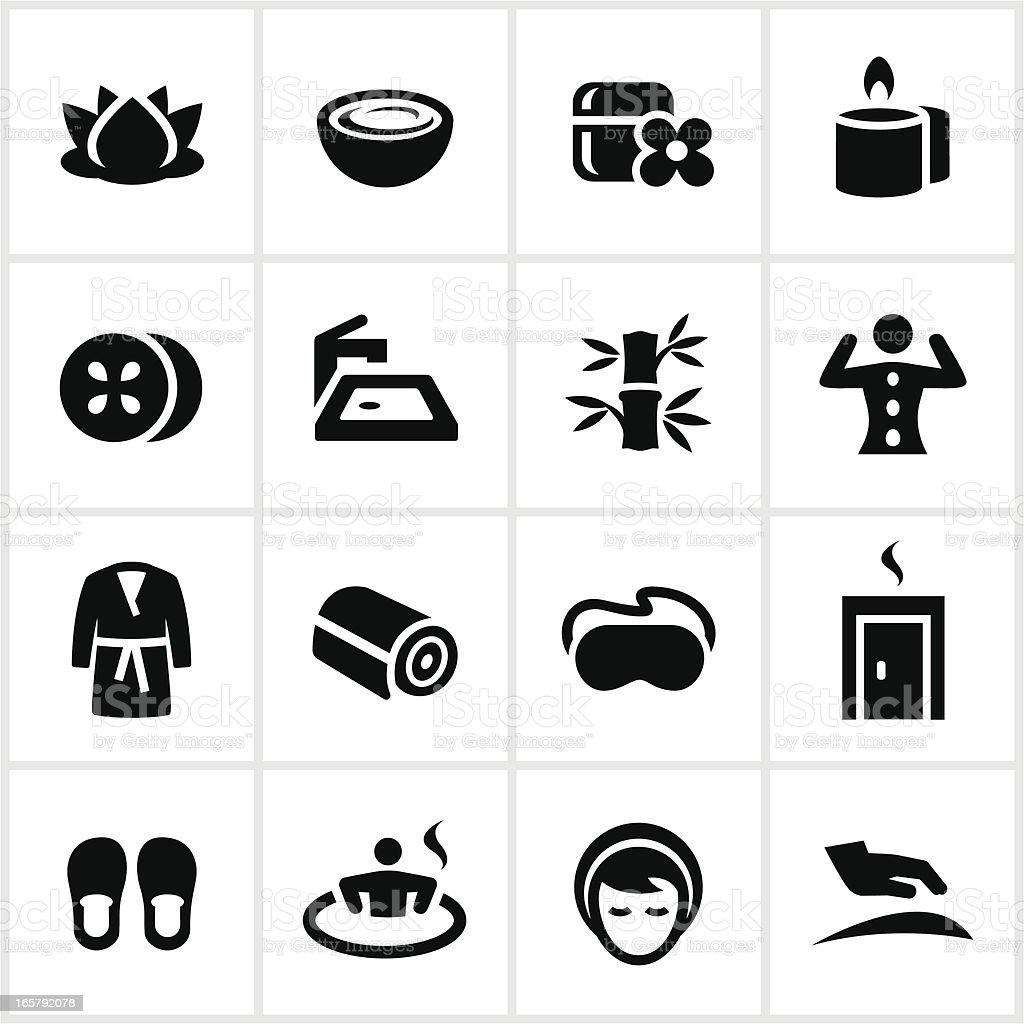 Black Spa Icons vector art illustration