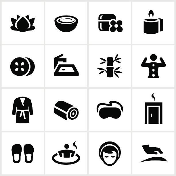 Negro iconos de Spa - ilustración de arte vectorial