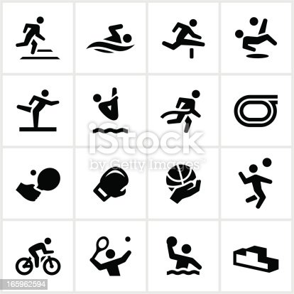Summer games related icons. All white strokes/shapes are cut from the icons and merged allowing the background to show through.
