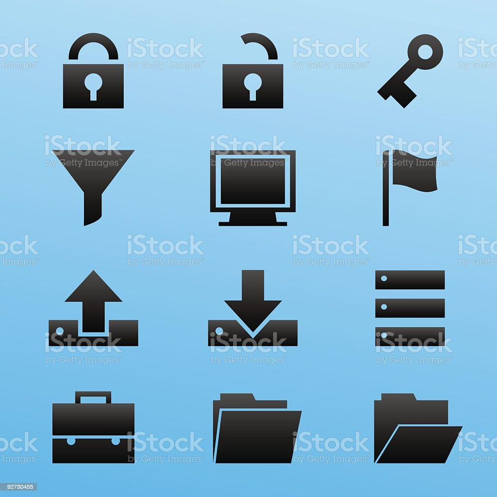 Black Style Icon Set Computer Security royalty-free stock vector art