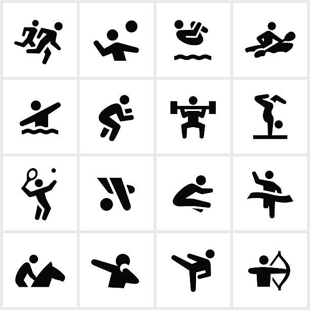 ブラックの夏のオリンピックのアイコン - 体操競技点のイラスト素材/クリップアート素材/マンガ素材/アイコン素材