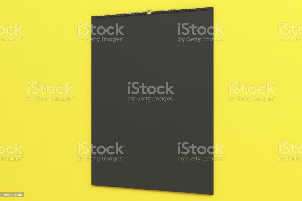 Black Wall Calendar Mockup On Yellow Background stock vector art ...