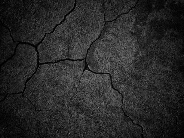 black wall with cracks texture for background vector art illustration
