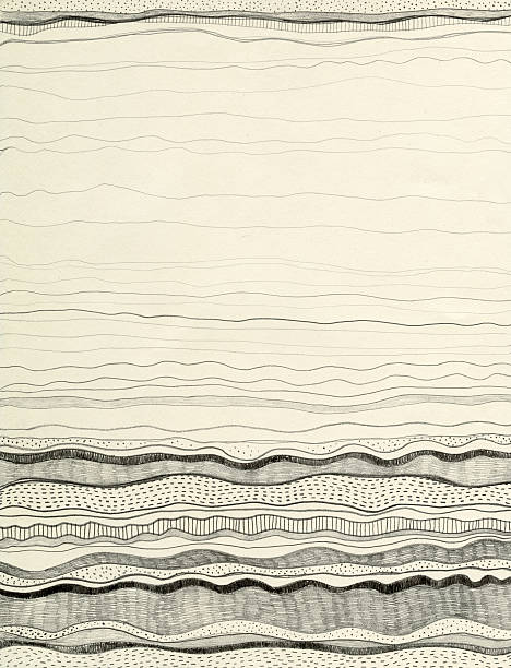 black wave patterns on cream background - river paper stock illustrations, clip art, cartoons, & icons