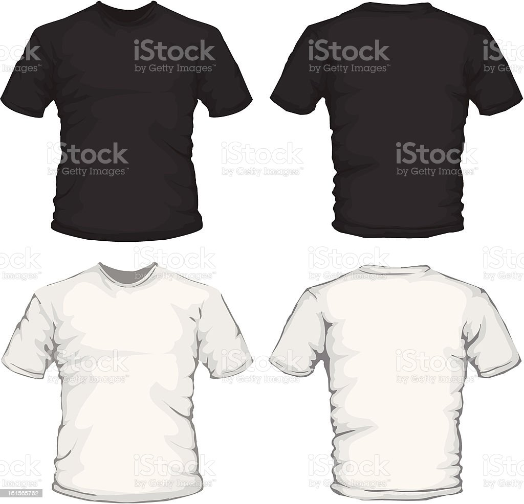 Black White Mens Shirts Template Front And Back Design Stock Vector