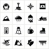 Winter related icons. All white strokes/shapes are cut from the icons and merged allowing the background to show through.