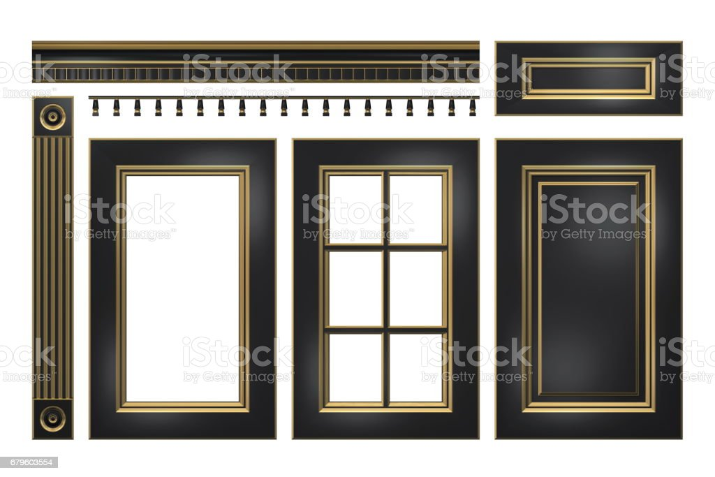 Black with gold door drawer column cornice for kitchen cabinet isolated on white  sc 1 st  iStock & Black With Gold Door Drawer Column Cornice For Kitchen Cabinet ...