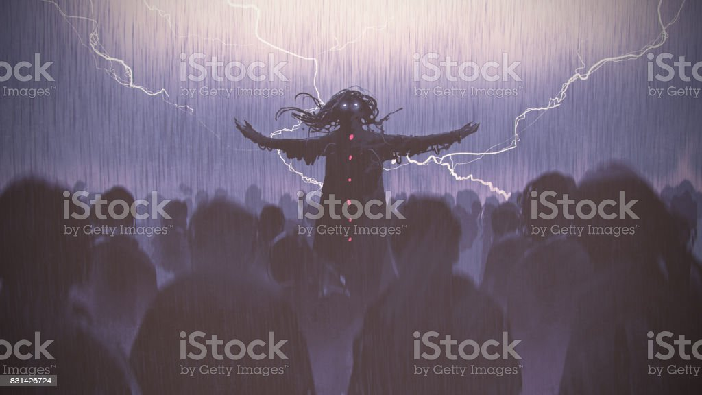 black wizard raising arms standing out from the crowd vector art illustration