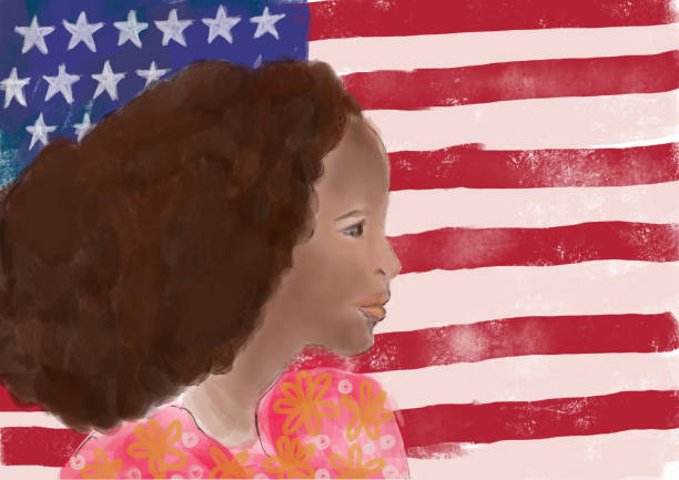 Black woman and American flag vector art illustration