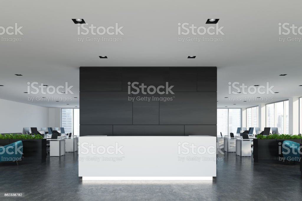 Black wooden office, white reception vector art illustration