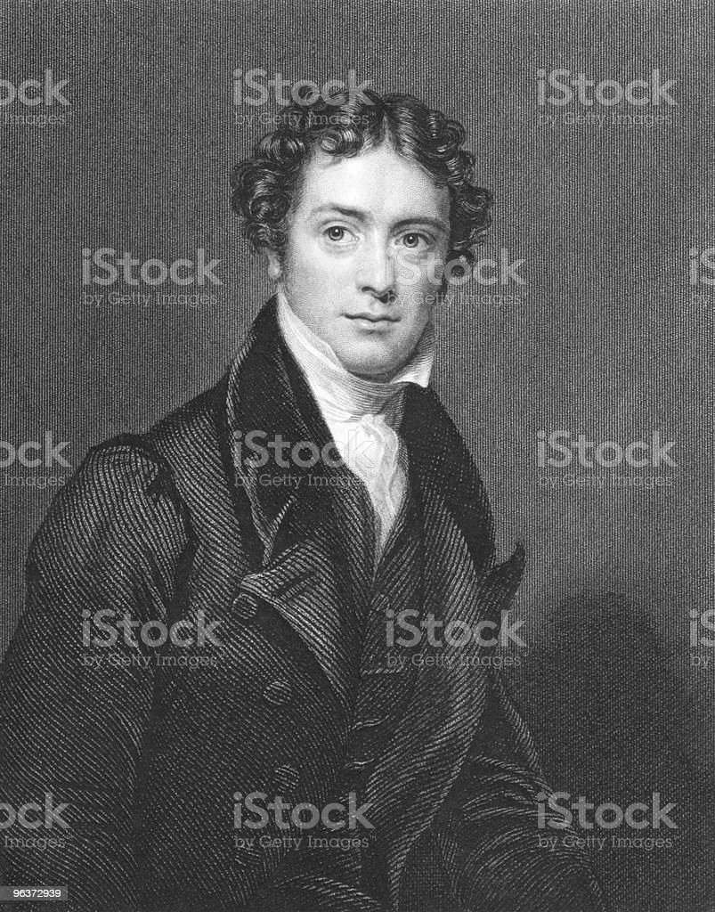 Black-and-white picture of Michael Faraday royalty-free stock vector art