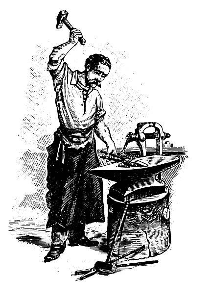 Blacksmith   Antique Design Illustrations vector art illustration