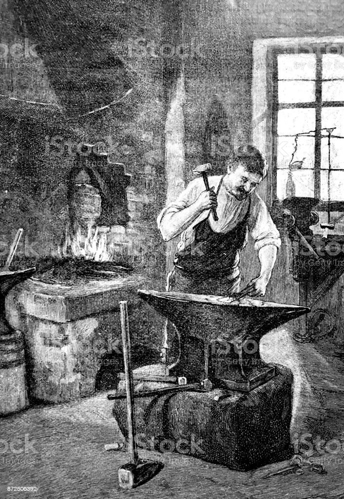 Blacksmith in the workshop hammering at the anvil vector art illustration