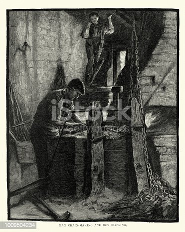 Vintage engraving of a Blacksmith making chains while boy operates bellows, 19th Century