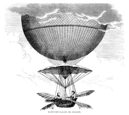 The French balloonist Jean Pierre Blanchard in his balloon, which had flapping wings. From  aAThe Leisure HouraA, a British aJournal of Instruction and RecreationaA. This edition was published in May 1864.