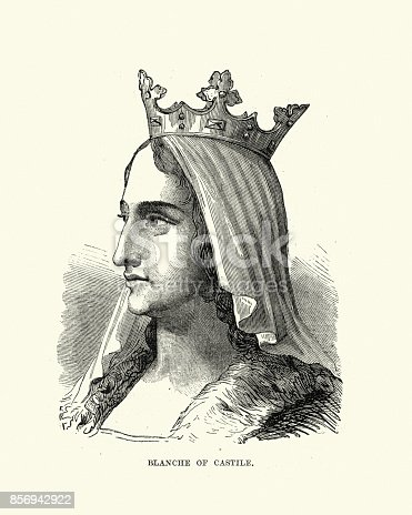 Vintage engraving of Blanche of Castile (Spanish: Blanca; 4 March 1188 – 27 November 1252) was Queen of France by marriage to Louis VIII.