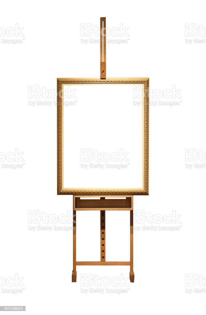 Blank Art Frame On Wooden Easel Isolated On White Stock Vector Art ...