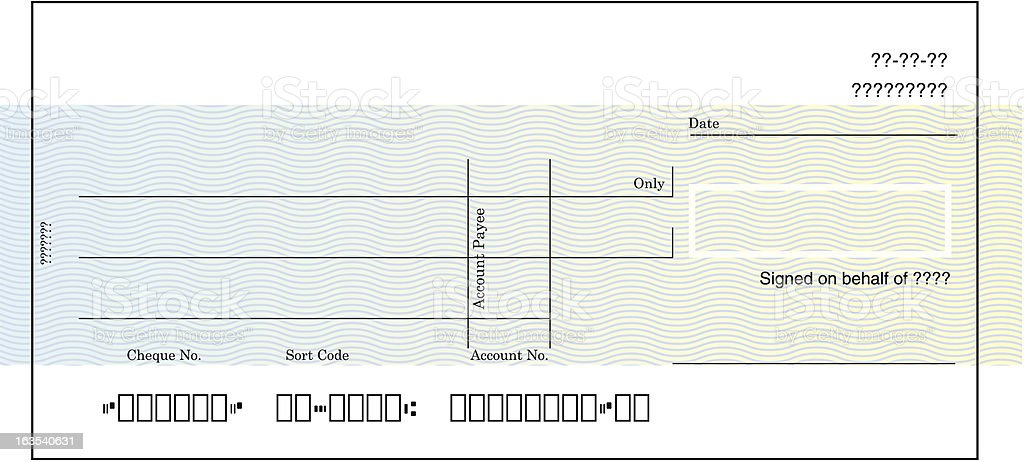 Blank Cheque Blank cheque illustration Check - Financial Item stock vector