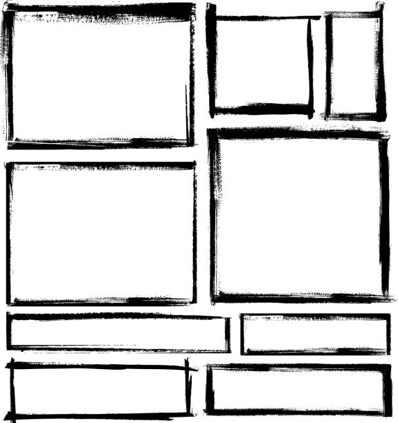 ilustraciones, imágenes clip art, dibujos animados e iconos de stock de juego de bastidor blanco - marcos grunge
