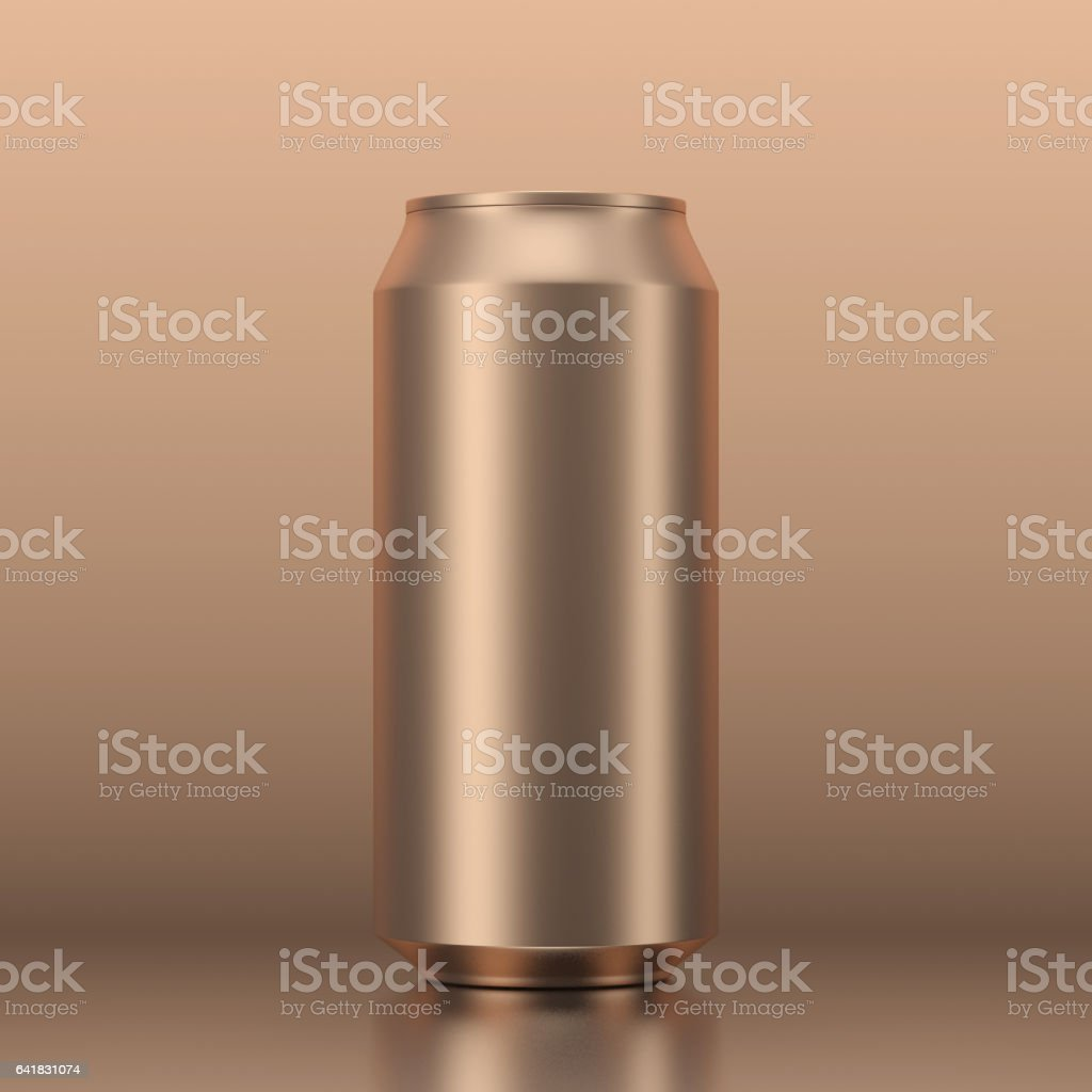 Blank Gold aluminum Can mockup for beer and other drink on gold background. 3d rendering vector art illustration