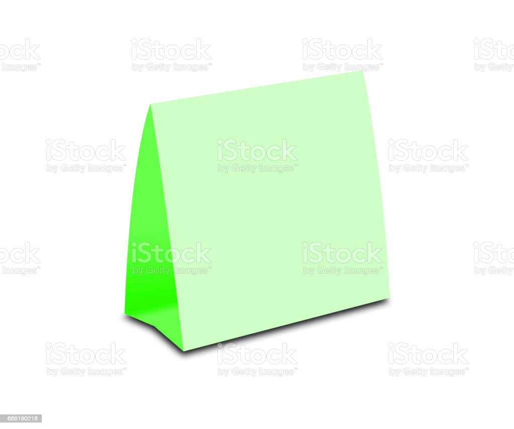 Blank Green Table Tent on white. Paper vertical cards isolated on white background royalty-  sc 1 st  iStock & Blank Green Table Tent On White Paper Vertical Cards Isolated On ...