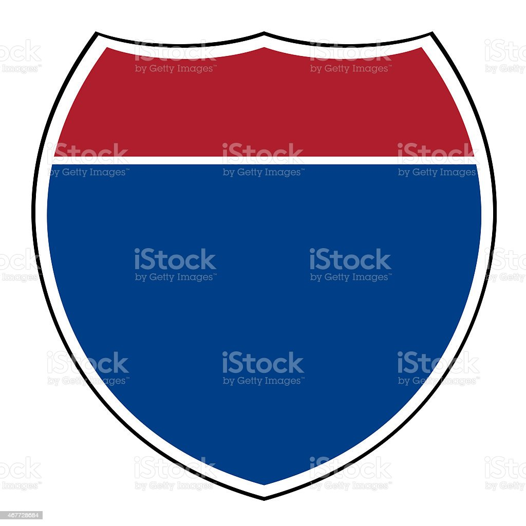 Blanco de la interestatal highway shield - ilustración de arte vectorial