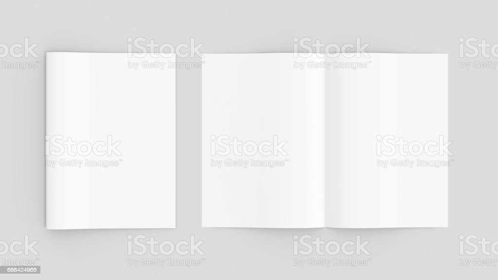Blank magazine or brochure mockup isolated on soft gray background. 3D illustrating vector art illustration