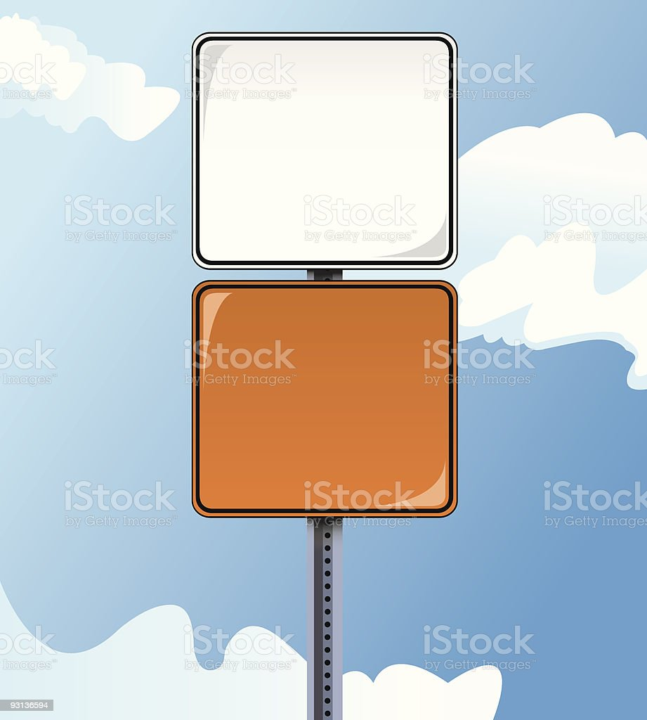Blank Metal Construction Signs royalty-free stock vector art