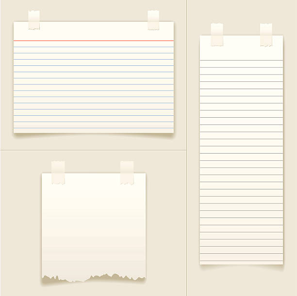 "Blank Note Cards ""Set of vector note cards and paper, taped to the background."" shopping list stock illustrations"