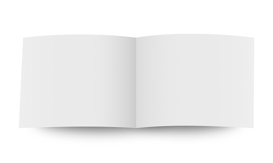 blank open book cover mockup on white background.
