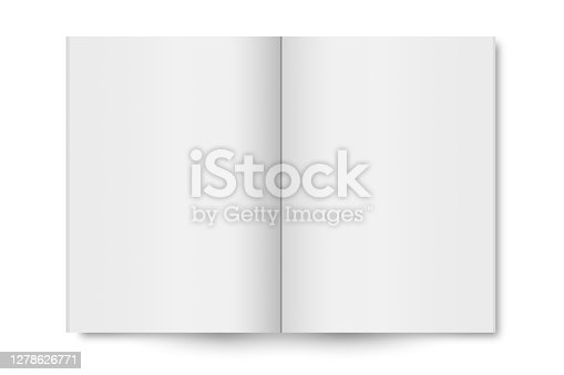 istock Blank open book isolated on white background 1278626771