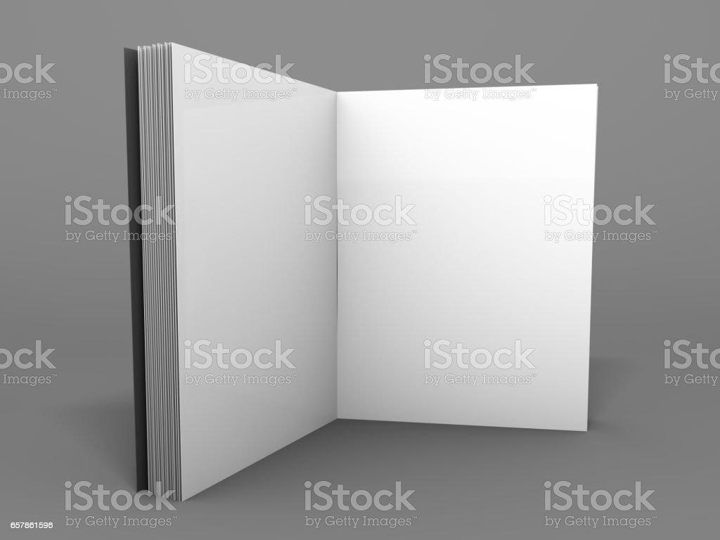 Blank Geöffnet Magazin Buch Broschüre O Broschüre 3drendering Vektor ...