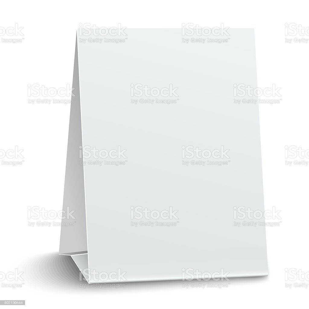 Blank paper table card isolated vector art illustration
