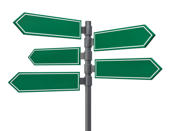 Blank signs pointing in opposite directions. 3D rendering vector art illustration