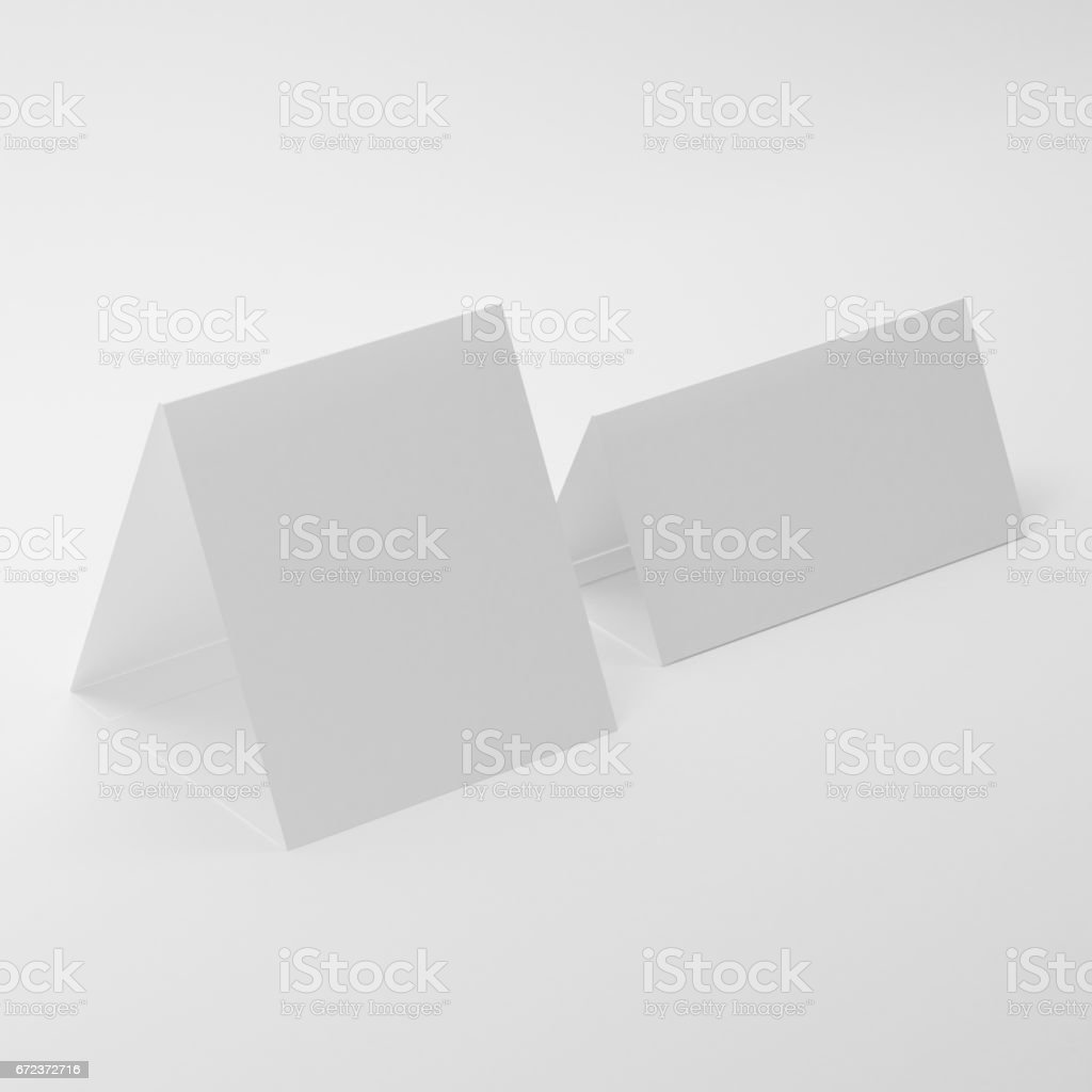 Blank Table Tent Mock-Ups On Isolated White Background, vector art illustration