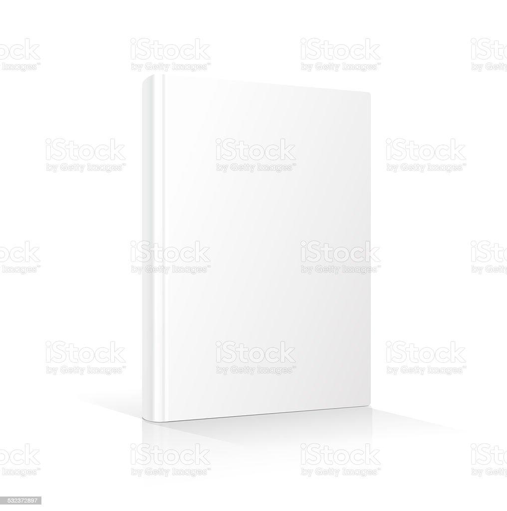 Blank vertical book cover template standing on white surface    illustration. vector art illustration