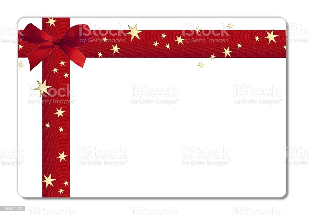 A blank, white gift card with a red ribbon and gold stars vector art illustration