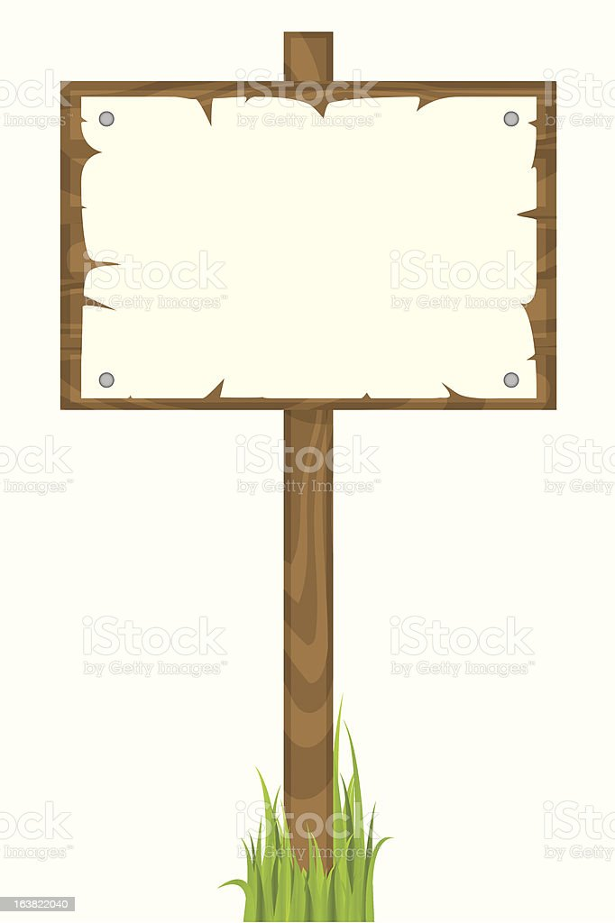Blank wooden sign vector art illustration