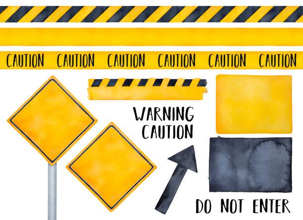 bildbanksillustrationer, clip art samt tecknat material och ikoner med blank gul vägskylt med svart kant och hög metall stolpe. kvadratisk form, ett enda objekt, framifrån. används ofta för att varna förare. handritade akvarell grafiska skiss, cutout clip art element. - stock arrow
