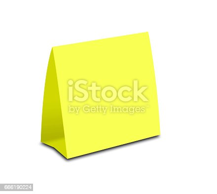 blank yellow table tent on white paper vertical cards isolated on