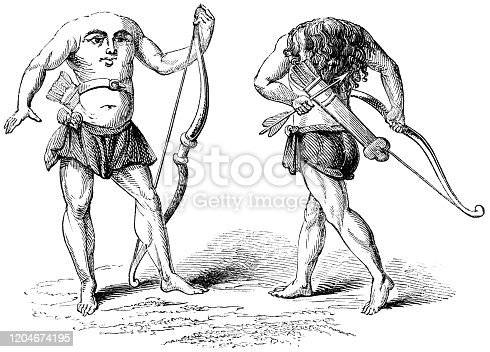 Blemmyes (Headless men) a mythical cannibalistic creature of the ancient Greeks with no head and instead their face is on their chest from the Works of William Shakespeare. Vintage etching circa mid 19th century.