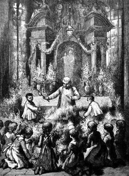 illustrazioni stock, clip art, cartoni animati e icone di tendenza di blessing of flowers on the assumption day - 1888 - ferragosto