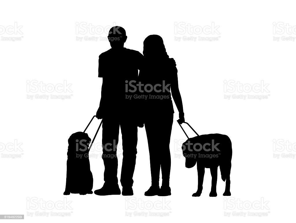 blind couple with dogs silhouette vector art illustration