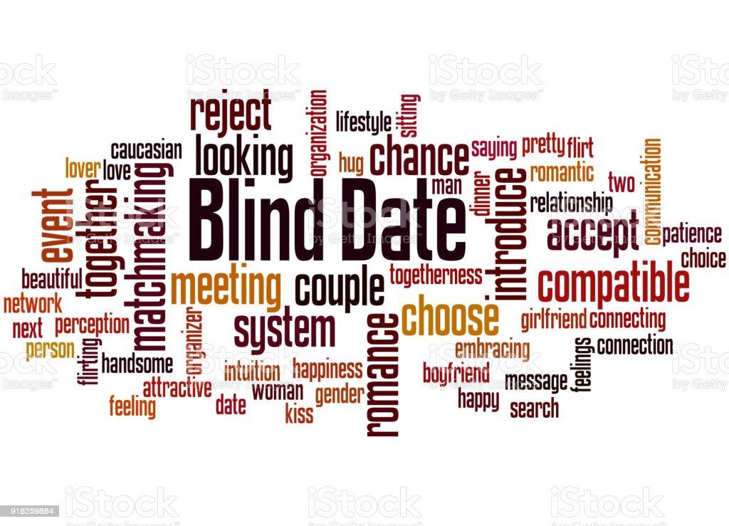 Blind date word cloud concept 2 vector art illustration