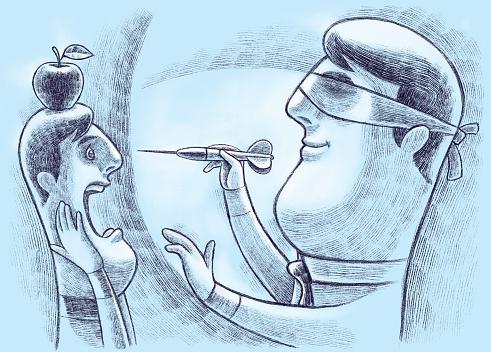 blindfolded man throwing dart