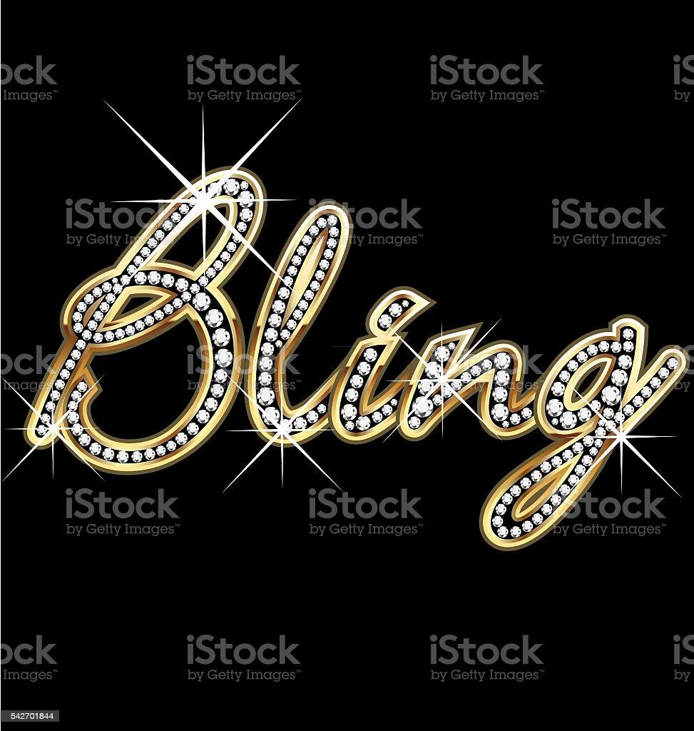 Bling bling gold diamonds word vector art illustration