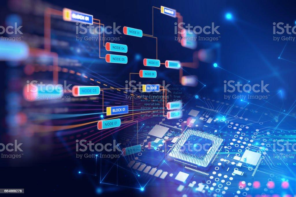 Block chain network concept on technology background vector art illustration