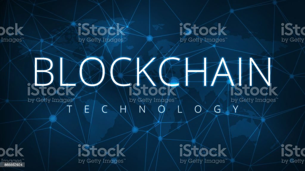 Blockchain technology futuristic hud banner vector art illustration